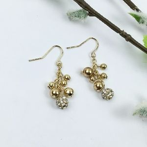 Gold Tone & Crystal Balls Dangly Earrings